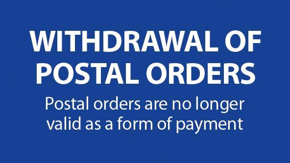 Withdrawal of Postal Orders