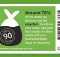 Green 90 litre bin stickers x4