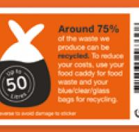 Orange 50 litre bin sticker